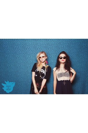 Audrey 3plus1 dress - UNIF shirt - meow crop UNIF shirt - Super sunglasses - cry