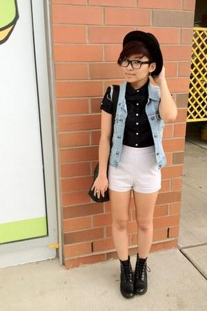 black roper vintage boots - black H&M hat - black button up vintage shirt