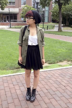 black chiffon American Apparel skirt - black roper vintage boots