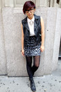 Sky-blue-leopard-print-tripp-skirt-black-leather-vest-h-m-vest