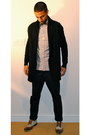 Black-cardigan-silver-shirt-dark-green-tie-navy-pants