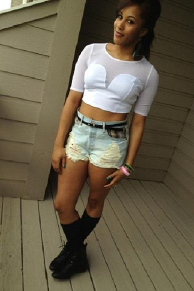 19e27a52cd crop white lace top - boots - shorts - black knee-high socks - bracelet