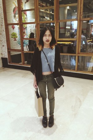 black Stradivarius bag - dark green Forever21 top - army green H&M pants