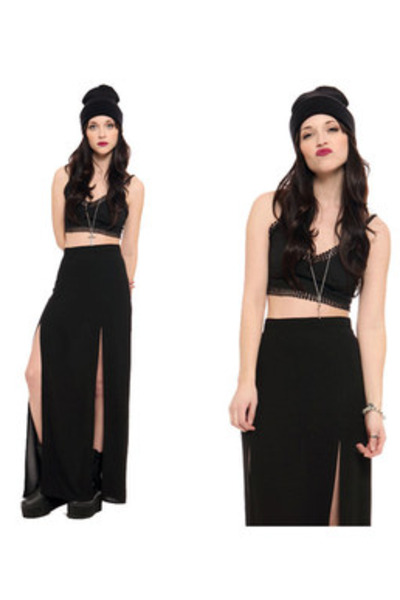 black platform boots YRU boots - black crop top For Love & Lemons top