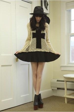 gold sweater - black cannes dress dress