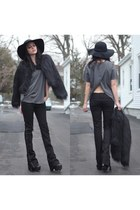 black hat - black fur coat jacket - heather gray t-shirt
