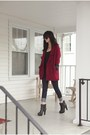 Black-for-love-lemons-dress-maroon-coat-navy-jeans