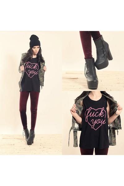 tripp jacket - medina boot boots - black beanie hat - velvet leggings leggings