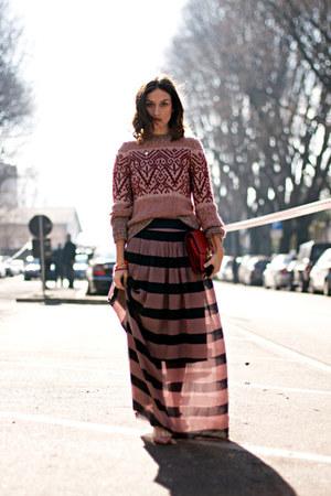 orange hugo boss skirt - orange hugo boss sweater - Celine bag - Valentino heels