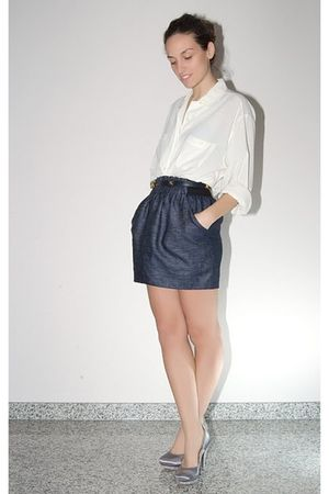 white Vintage costume shirt - blue Zara skirt - blue Chanel belt - blue Diamond