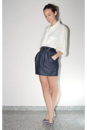 white Vintage costume shirt - blue Zara skirt - blue Chanel belt - blue Diamond