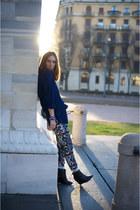 blue Zara pants - blue unknown shirt - black H&M heels