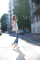Jessica Buurman heels - silvian heach jeans - Gap shirt