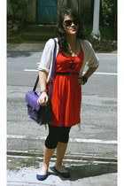 H&M dress - black Mango leggings - Cambridge Satchel Company bag - Juan flats