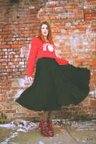 red Cubus blouse - ruby red Stradivarius boots - black SH skirt