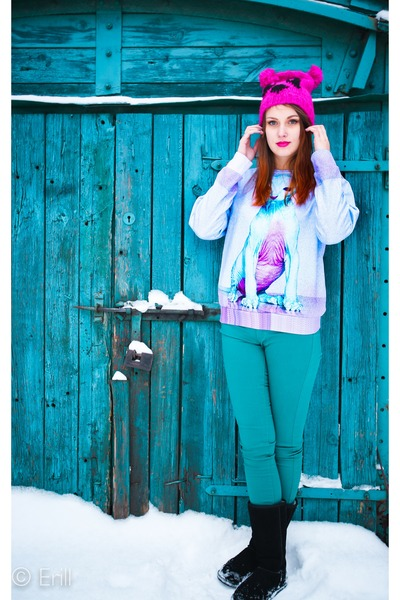 hot pink Auchan hat - teal Tally Weil pants - amethyst Sugarpills blouse