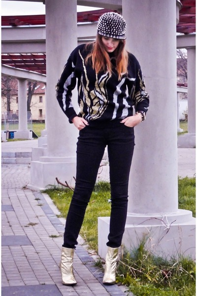 gold H&M boots - silver Secondhand blazer - black H&M pants