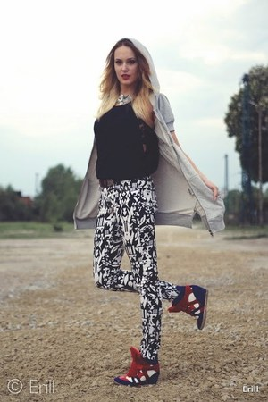 heather gray SH blouse - black H&amp;M pants - red Ebay sneakers