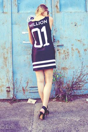 black Love it shop dress - black Bershka sandals - white nodo watch