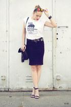 black Terranova skirt - white koszulkowocom t-shirt - black no name sandals