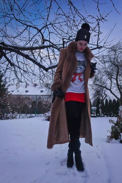 white vintage blouse - red vintage dress - black StaffbyMaff hat