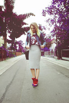 white GAVEL top - navy vintage jacket - dark gray Matalan skirt