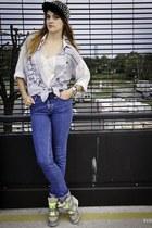light blue vintage shirt shirt - blue Cubus Jeans jeans - silver TheMode hat