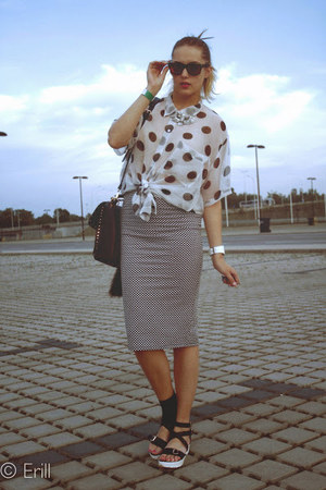 black Matalan skirt - white SH blouse