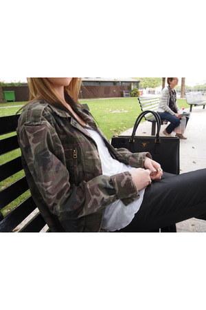 army green Topshop jacket - black Zara jeans - black Prada bag
