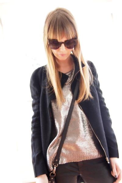 silver Zara jumper - black rubi boots - black Willow coat - black Zara jeans