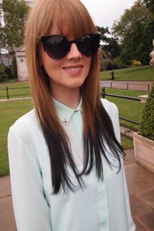 aquamarine Zara shirt - black Prada bag - black Cobra Snake sunglasses