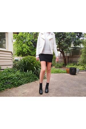 white acne jumper - black acne boots - ivory SANDRO jacket - black Zara skirt