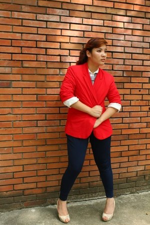 navy bazaar bought pants - red borrowed blazer