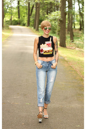 Bow and Drape top - asos jeans - H&M sunglasses - Zara heels