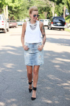 Zara necklace - H&M skirt - Zara top - Zara heels
