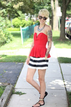 black asos shorts - red asos top - Stella and Dot bracelet - black asos flats
