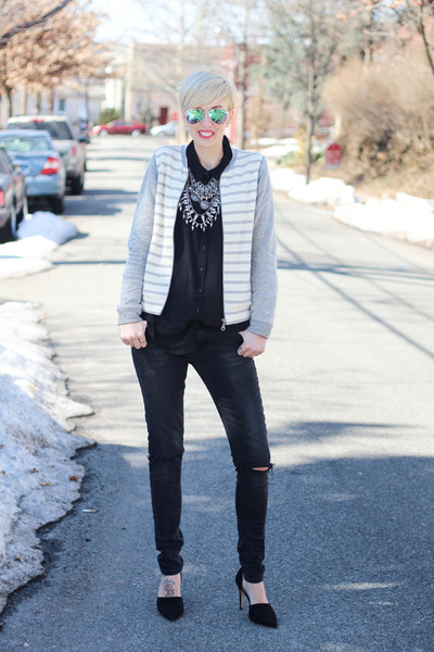 bella luxx jacket - Zara jeans - H&M sunglasses - Zara necklace - bella luxx top