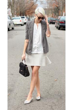 Zara skirt - Urban Outfitters blazer - coach bag - Zara flats - H&M top