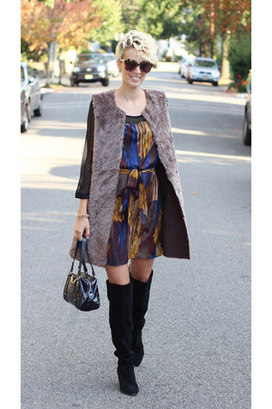 TJ Maxx vest - Urban Outfitters boots - TJ Maxx dress - coach bag