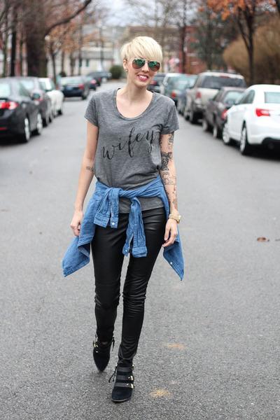 H&M leggings - sam edelman boots - Gap shirt - H&M sunglasses - ily couture top