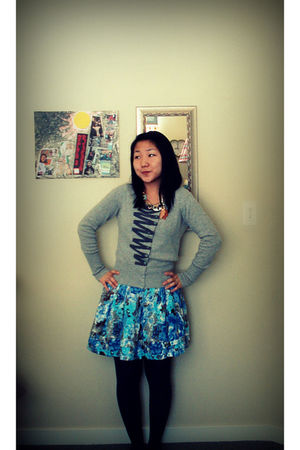 blue papaya skirt - silver Anthropologie cardigan - brown Anthropologie necklace