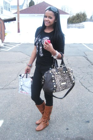 Nine West boots - H&M sweater - Necole Lee bag - Jessica Simpson sunglasses - H&
