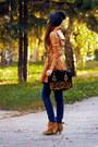 Camel-asos-boots-mustard-asos-coat-navy-topshop-hat-black-asos-bag