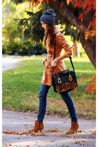 black asos bag - camel asos boots - mustard asos coat - navy Topshop hat