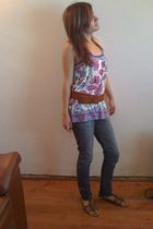 purple blouse - blue Guess jeans - brown belt - brown xhilaration shoes