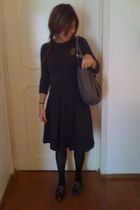 gray JCrew sweater - black Express skirt - black tights - silver Aldo shoes - gr