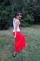 red Calliope skirt - navy vintage scarf - bronze Mango purse - white Mango top