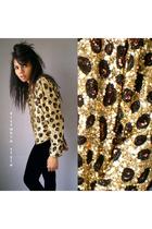 Vintage 80s Leopard Print Sequin Cropped Blazer