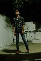 gray Oman shirt - burnt orange American Welt boots - dark gray DKNY jeans