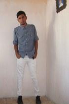 Converse shoes - Levis jeans - Topshop shirt